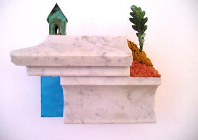 Loïc Hervé, Sculpture murale - CUIVRE OXYDE BRONZE MARBRE VERRE BETON TEINTE - Ht 21 cm x22 cm