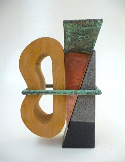 2012-Brise Lame-Granit, Bois, cuivre oxydé Bronze-HT 24 cm x 15 cm-vendu