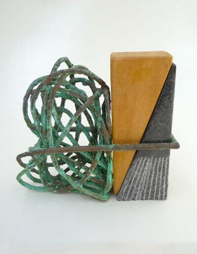 2012-Brise Lame-Granit, Bois, cuivre oxydé Bronze-HT 22 cm x 25 cm-vendu