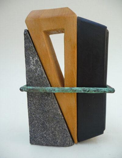 2013-Brise Lame-Granit, Bois, Caoutchouc-HT 24 cm x15 cm