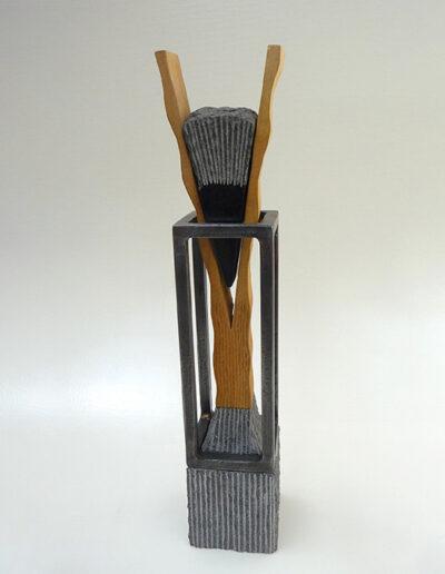 2012-Brise Lame-Granit, Bois,Acier-HT 66 cm x 40 cm