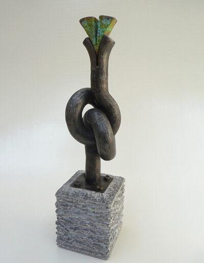 2013-Brise Lame-Granit, Acier, cuivre oxydé Bronze-HT 46 cm x 12cm