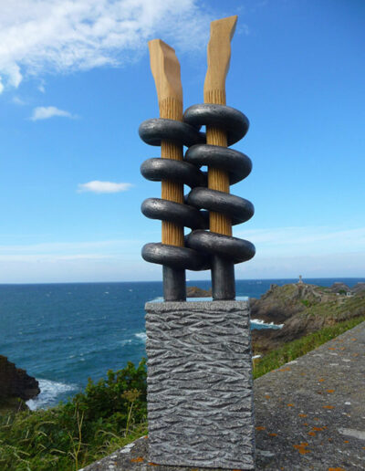 2012-Brise Lame-Granit, Acier, Bois-HT 90 cm x 20 cm