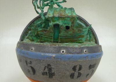 Loïc Hervé - cuivre oxydé bronze aluminium - dimension 20 cm (diamètre) x 29 cm (hauteur) - VENDUE